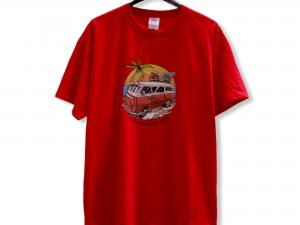 """Мъжка тениска """"Hippy Bus"""" – 100% памук, червена"""