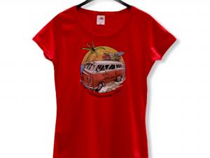 """Дамска тениска """"Hippie Bus"""" – 100% памук, червена"""