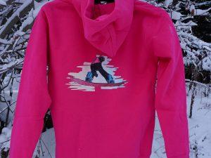 Дамски суитчър 'Сноуборд' с цип, розов